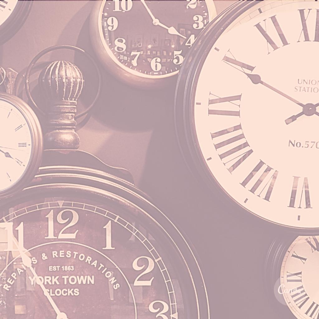 Vários relógios mostram a falta de tempo